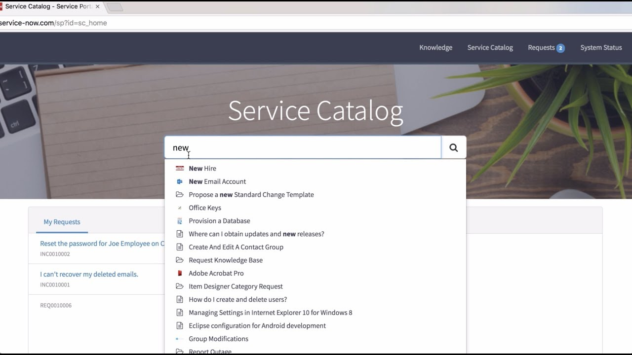 Request Management and Service Catalog | How to Request Something