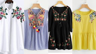 Top Stylish Embroidery Tunic Tops Designs