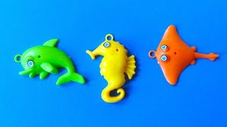 ANIMAL KINGDOM: DOLPHIN, SEAHORSE, stingray, GOLFINHO, little plastic animals MOVIE TOYS VIDEO