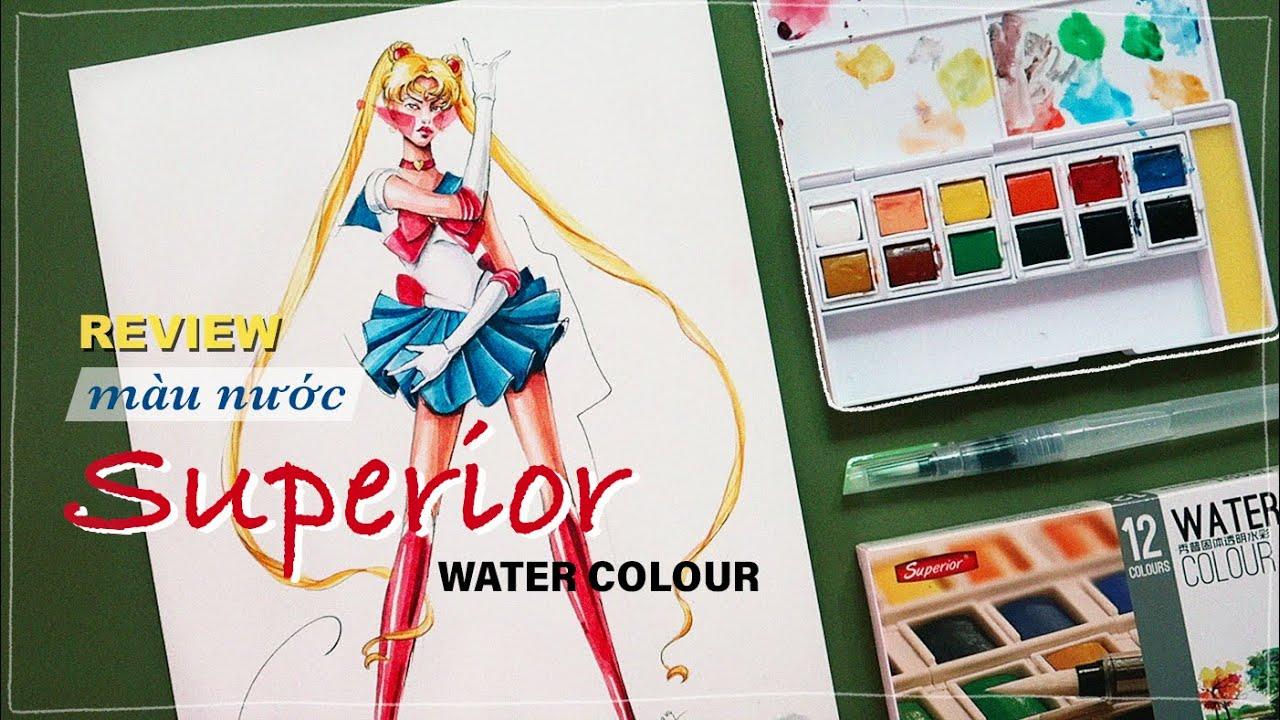 review màu nước superior giá rẻ!?! 🤔 | Thủy Thủ Mặt Trăng phiên bản model | Kiquy Pham
