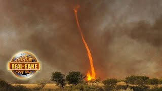 HUGE FIRE TORNADO CAUGHT ON CAMERA  - real or fake?