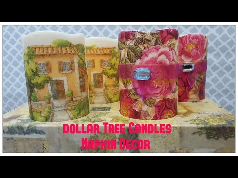 Tricia's Creations: Dollar Tree Candles Decorated with Napkins