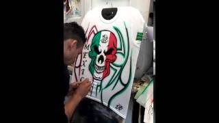 Airbrush skull flag /skull Mexico flag /Bandera De Mexico/how to draw skull