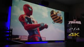 """Spider-Man PS4 Gameplay- Projector Optoma GT1080 150"""" Screen (4K)"""