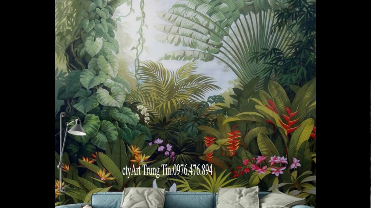 nhận vẽ tranh tường 3D:Rừng hoa nhiệt đới cho mọi công trình _ ctyArt Trung Tín 09.76.476.894