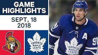 NHL Pre-season Highlights | Senators vs. Maple Leafs - Sept. 18, 2018