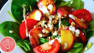 Grilled Peach & Spinach Salad - Summer Salads- Салат с жареными персиками