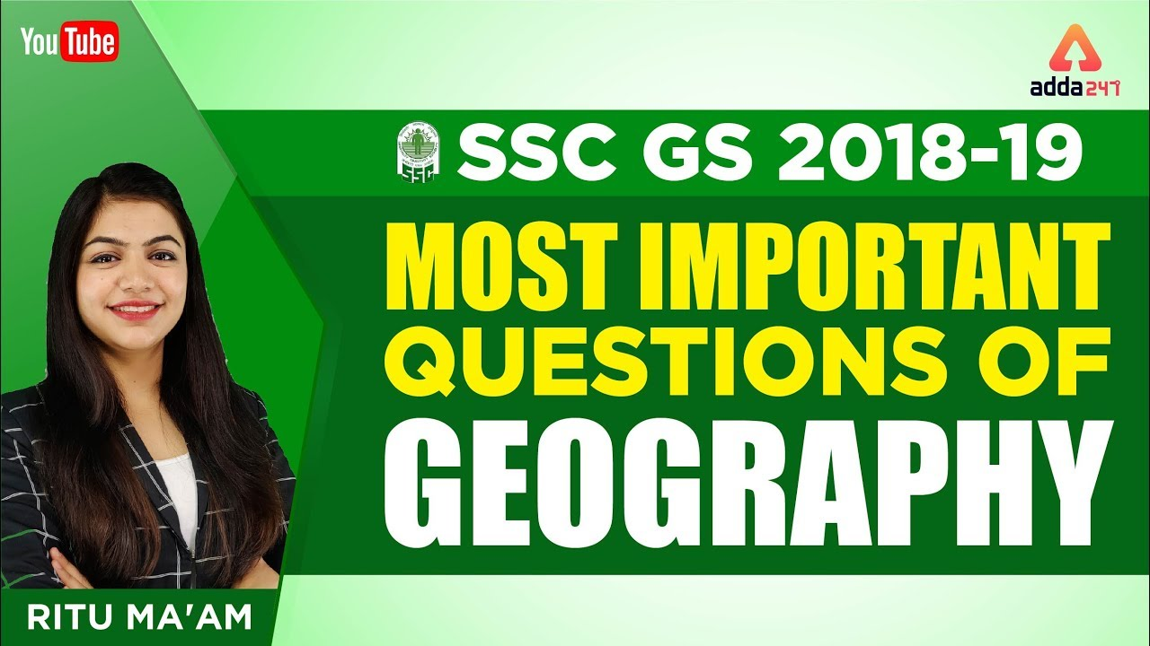 SSC GS Session   Most Important Questions of Geography   Ritu mam