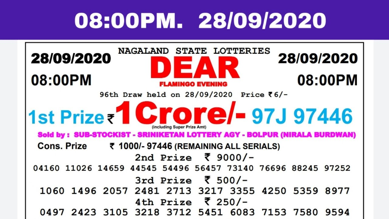 🔴Lottery Sambad Result Live 08.00pm 28.09.20 Nagaland State Lottery Live gdn
