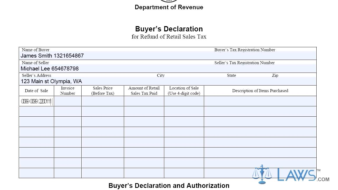 Form buyers declaration for refund of retail sales tax youtube form buyers declaration for refund of retail sales tax altavistaventures Images