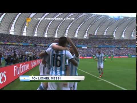 MUNDIAL BRASIL 2014 - ARGENTINA 3 NIGERIA 2 - PRIMER GOL DE LIONEL MESSI
