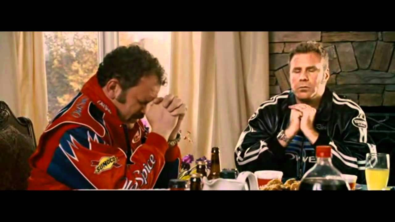 Will Ferrell is ricky bobby saying grace in Talladega Nights