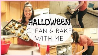 CLEAN AND BAKE WITH ME | Halloween Party | Cleaning Motivation | Allie Leavitt