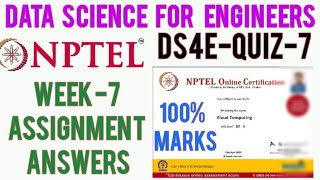 Data Science For Engineers NPTEL Assignment 7 Answers | NPTEL Data Science For Engineers Week 7 Quiz