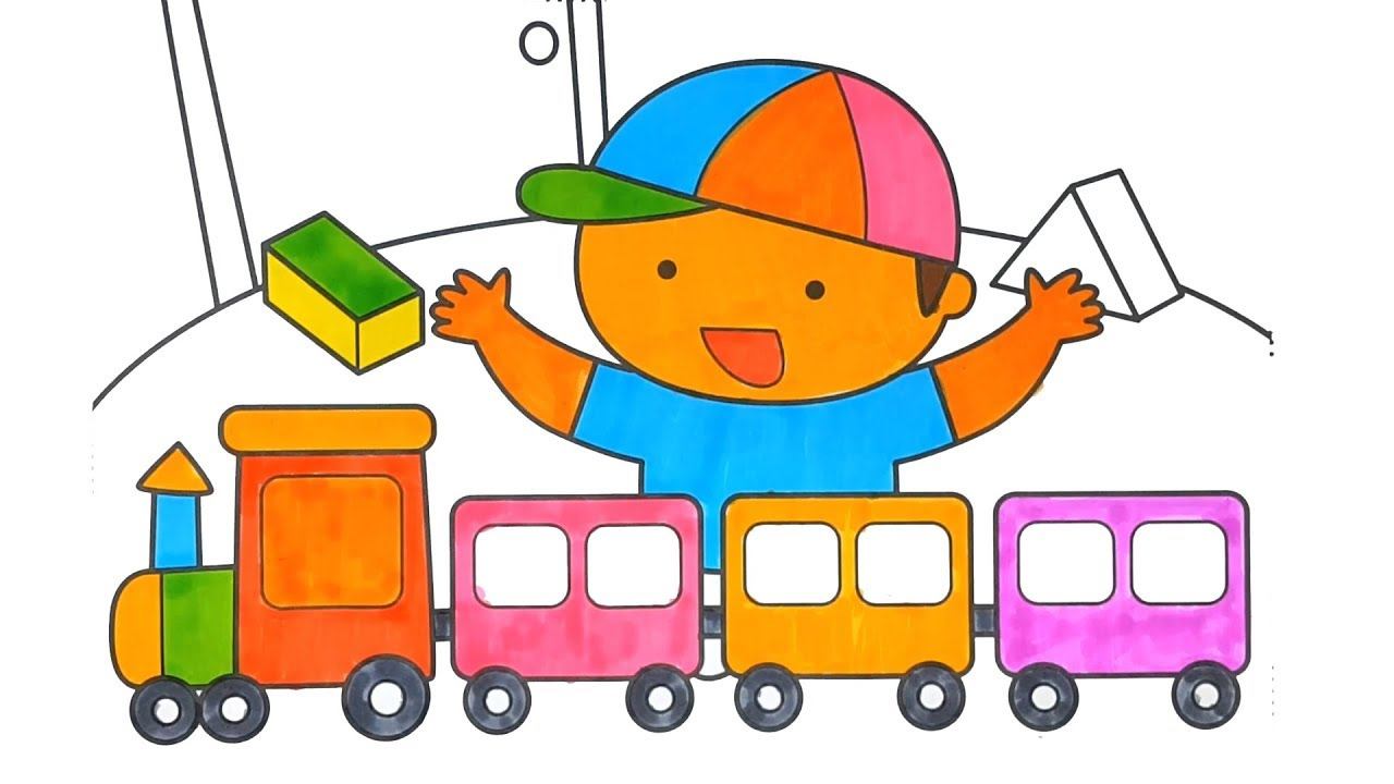 Baby and toy train coloring pages - Coloring for kids - YouTube