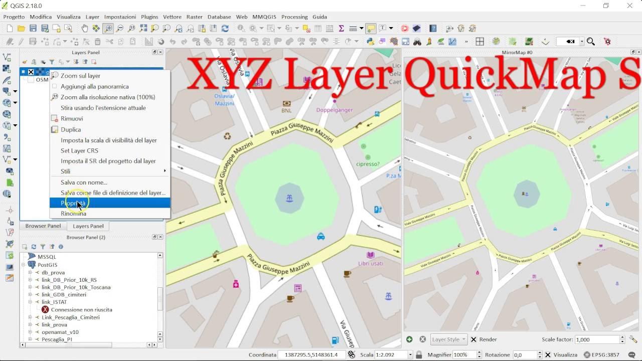 QGIS 2 18: Tile server (XYZ) anche in QGIS 3 0