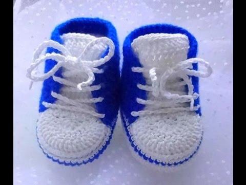 9926b511 zapatos tejidos a crochet para bebe varon - YouTube