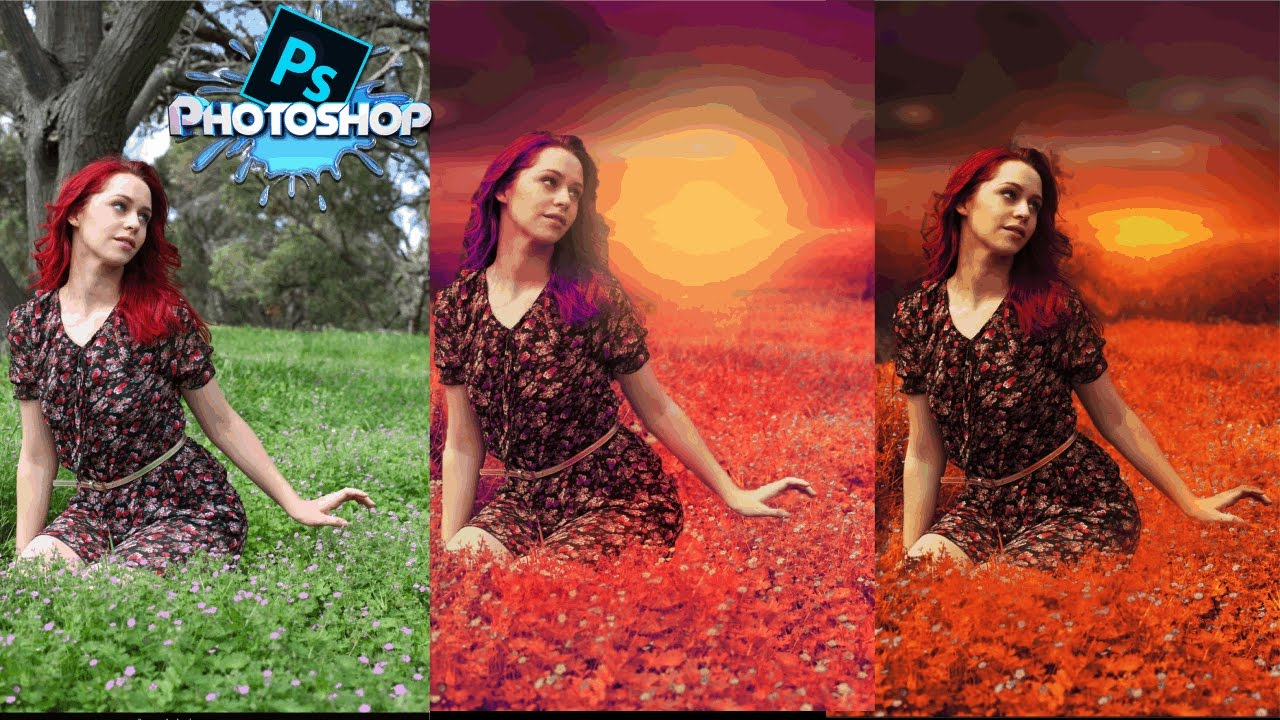 photoshop tutorials|photoshop cc tutorial|fantasy sunset fall color