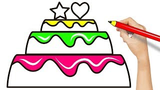 How To Draw Cake with Heart and Star - Simple Drawing with Color Markers