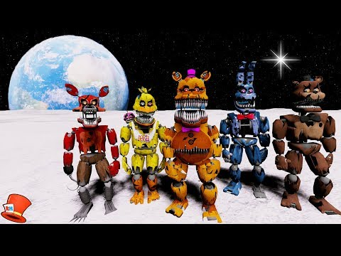 NIGHTMARE ANIMATRONICS GO TO SPACE! (GTA 5 Mods For Kids FNAF RedHatter)