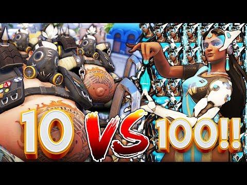 10 ROADHOGS VS 100 SYMMETRAS!? OVERWATCH CUSTOM GAMEMODE!