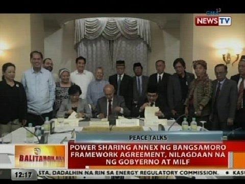BT: Power sharing annex ng Bangsamoro Framework Agreement, nilagdaan na