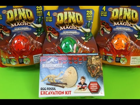 Dino Magic Fizz Surprise & Jurassic World Egg Fossil: Fizzes in water to reveal a surprise inside!