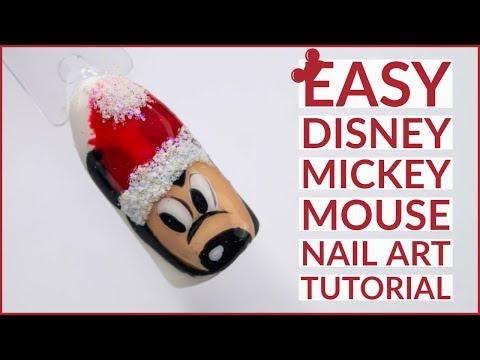 Christmas Nail Art Tutorial   Mickey Mouse Nail Art  Disney Design
