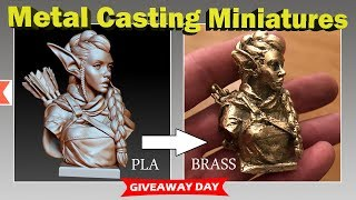 Metal Casting An Elf Archer Miniature In Brass From PLA + Giveaway!