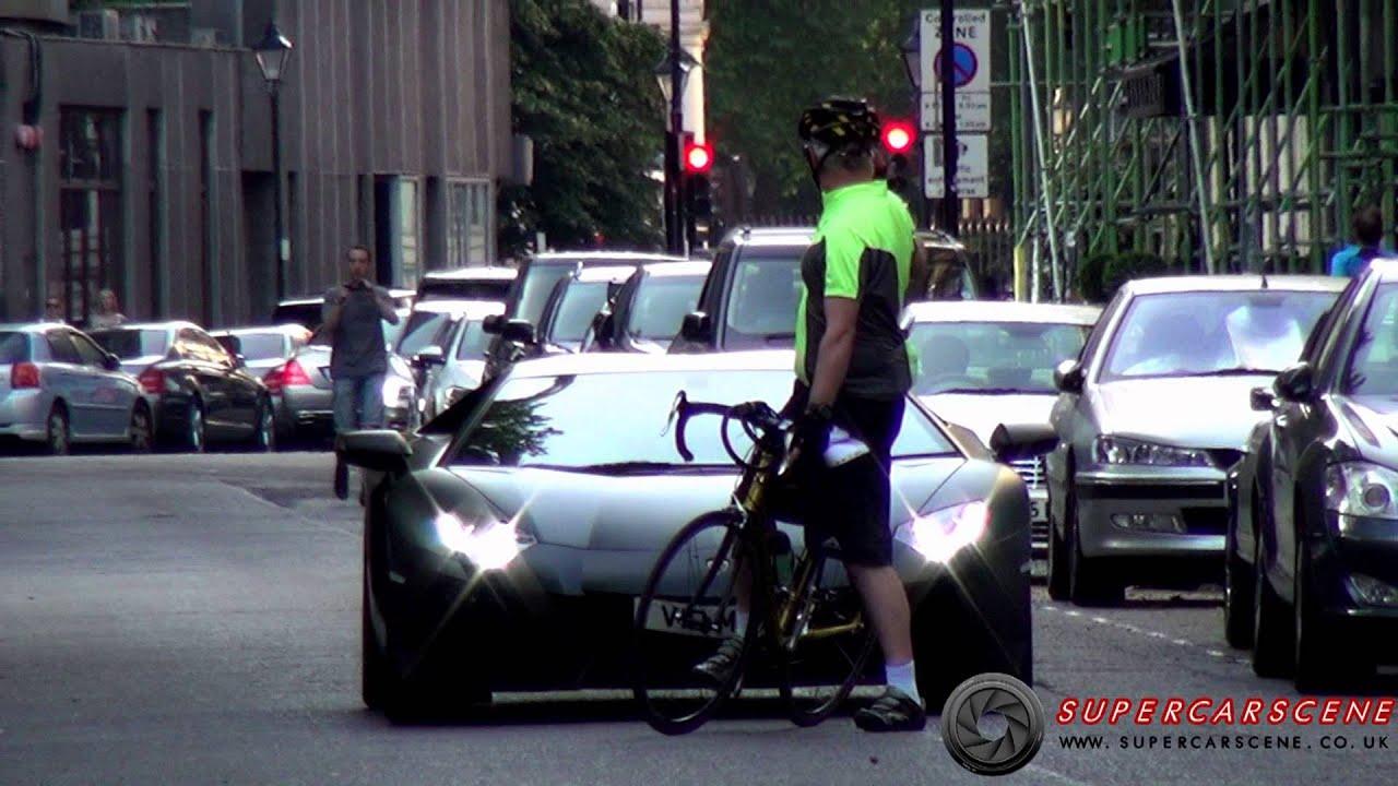 Cyclist Sabotages Lamborghini Aventador Youtube