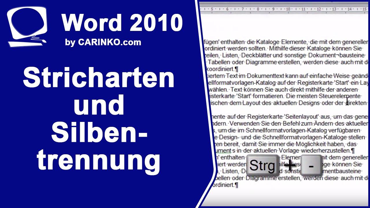 Stricharten und Silbentrennung Microsoft Word 2010 - carinko.com ...