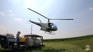 Spraying Corn with a Helicopter