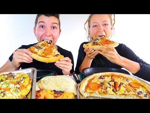 Mozzarella Ricotta Pepperoni Pizza & Calzone • MUKBANG
