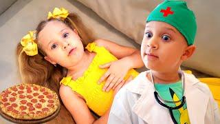ديانا وروما يتظاهران بلعب المدرسة - قصص اطفال
