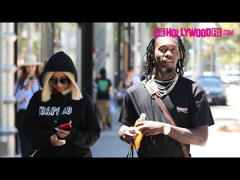 Offset From Migos & Cardi B. Go Shopping At Balenciaga On Rodeo Dr. In Beverly Hills 6.27.17