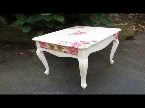 How To Decoupage Furniture With Napkins A Table Youtube