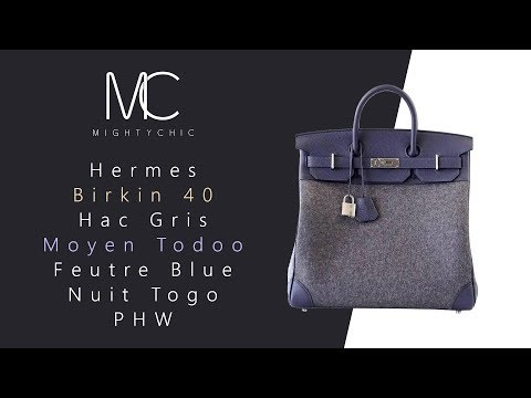 • MIGHTYCHIC • Hermes 40 Hac Gris Moyen Todoo Feutre Blue Nuit Togo PHW