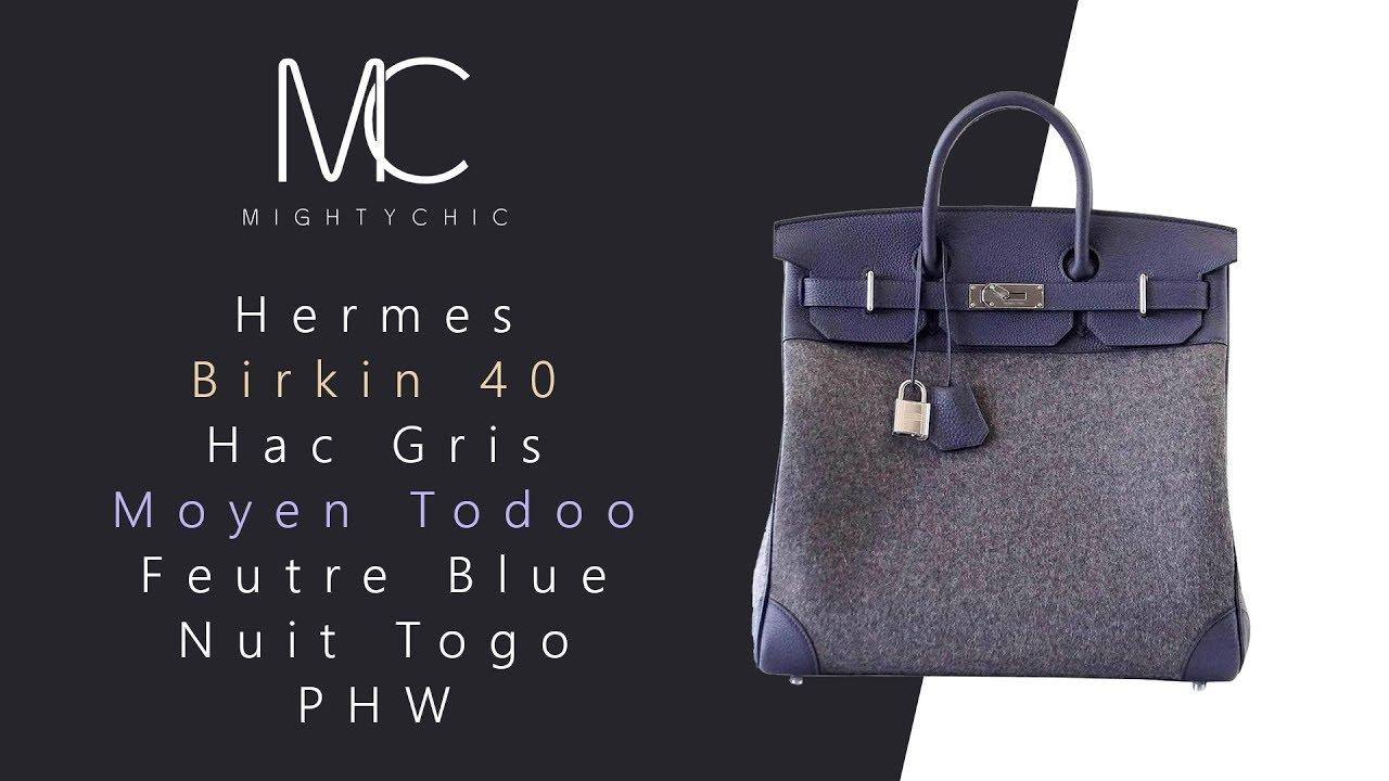 90bc0c9274d MIGHTYCHIC • Hermes 40 Hac Gris Moyen Todoo Feutre Blue Nuit Togo ...