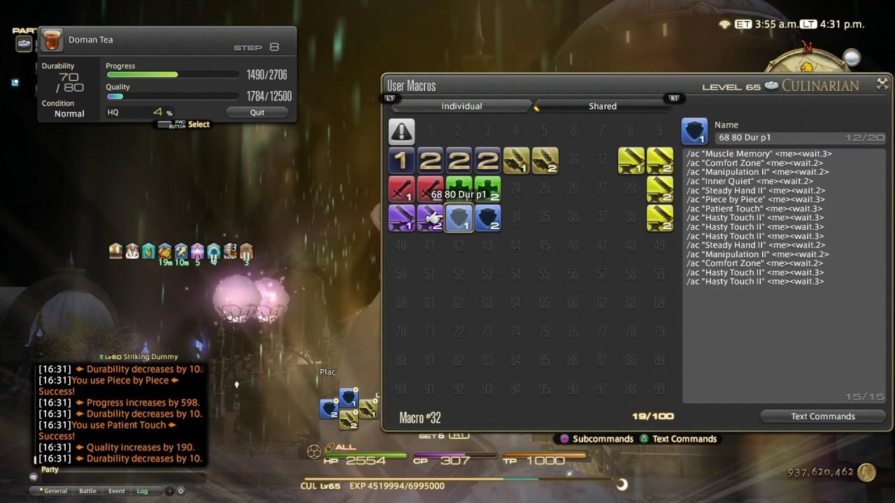 Final Fantasy XIV: Stormblood - Level 68 80 Durability HQ MACRO (920  Craftsmanship 488 CP)