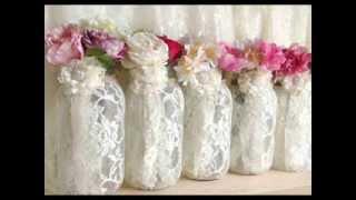 PinKyJubb lace and burlap mason jar vases tea candles