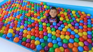 Giant Inflatable Kids Pool Full Of Balls Superhero Surprise Toys Hunt With Ckn Toys