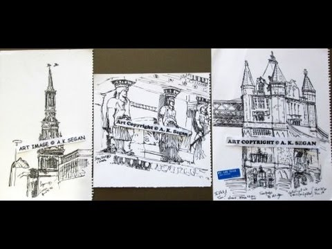 UK art by A.K. Segan: 3 small London architectural drawings, 2002, 2011 ©