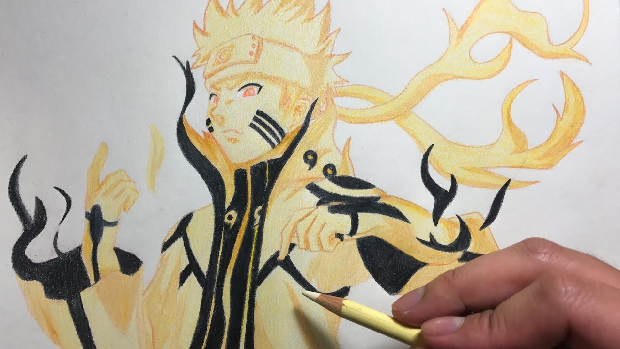 Biju Mode Naruto: Drawing Naruto Kyuubi Mode (Bijuu Mode)