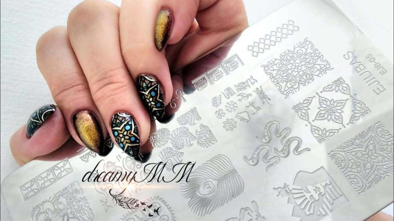 Radial Gradient And Stamping Nail Art Ejiubas Egyptian Style Plate