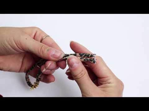 Handmade jewellery: Making jewellery with stitched elastic ribbon leopard ♡ DIY