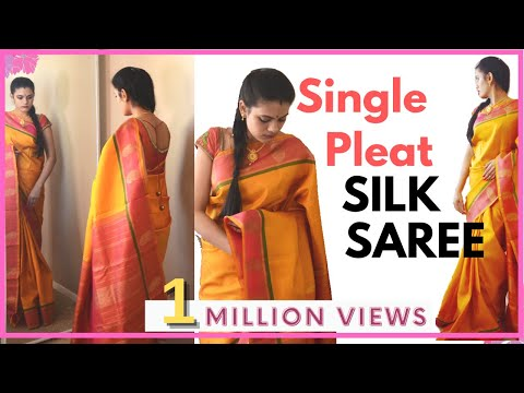How to drape silk saree with single pleat