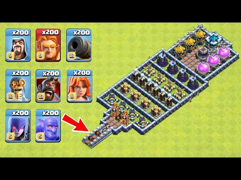Who Can Survive This Difficult Trap on COC? Trap VS Troops #22
