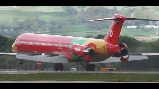 rare danish air transport md83 takeoff at glasgow airport