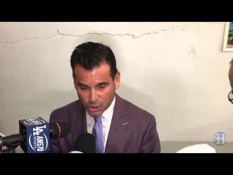 Miami Marlins president David Samson reacts to Dee Gordon