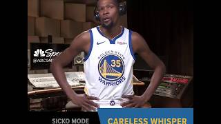 Warriors Players get Turn'd Up with Sicko Mode, then the song changes to Careless Whisper